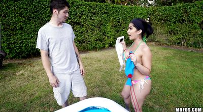 Captivating latina Kitty Caprice moans loudly while being roughly plowed from behind