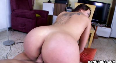 Raunchy brunette Clara Gold sucks and rides a monster hard dick